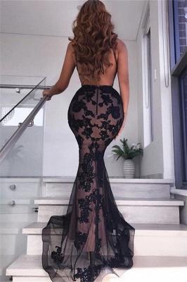 Fantastic V-Neck Sleeveless Black Prom Dress Sexy Backless Slit Formal Dresses with Appliques_4