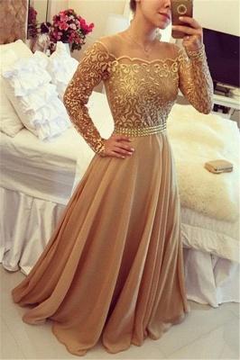 Gold Long Sleeve Evening Dresses  Round Neckline Lace Chiffon Prom Dress  BMT202_1