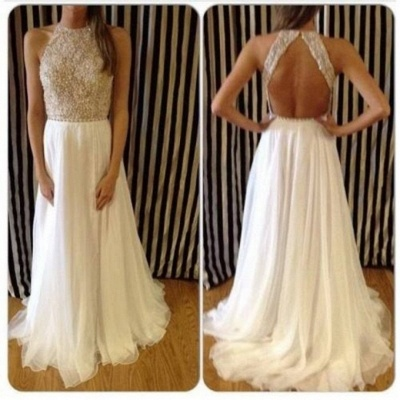 Tulle Halter Sleeveless  Evening Dresses Sweep Train Backless Sequined Prom Gowns_3