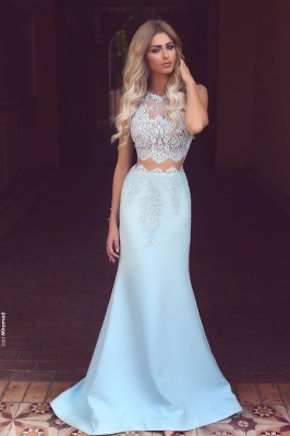 Baby Blue Two Piece Evening Dress Long Lace Mermaid  Prom Dresses  BA3914_1