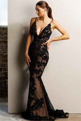 Fantastic V-Neck Sleeveless Black Prom Dress Sexy Backless Slit Formal Dresses with Appliques_1