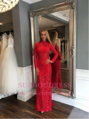 Zipper Sweep-Train Lace High-Neck Sexy Mermaid Red Long-Sleeve Prom Dress_3