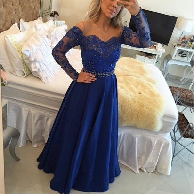 A-Line Long Sleeve Royal Blue  Prom Dress New Arrival Beading Party Dresses_3