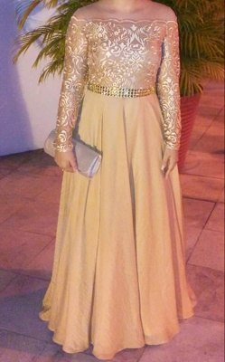 Gold Long Sleeve Evening Dresses  Round Neckline Lace Chiffon Prom Dress  BMT202_3