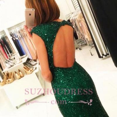 Sexy Backless Sequins Green Sheath-Column Floor-length Evening Dress_5