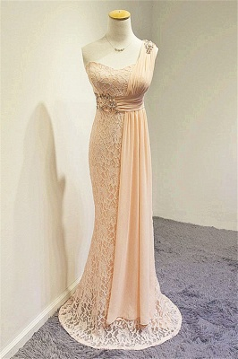 Champagne One Shoulder Lace Crystal Mermaid Prom Dress A-line Popular Zipper Long Evening Gowns_4