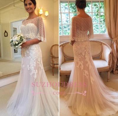 Sweetheart Mermaid Applique Tulle Sexy Sweep-Train Wedding Dresses_1