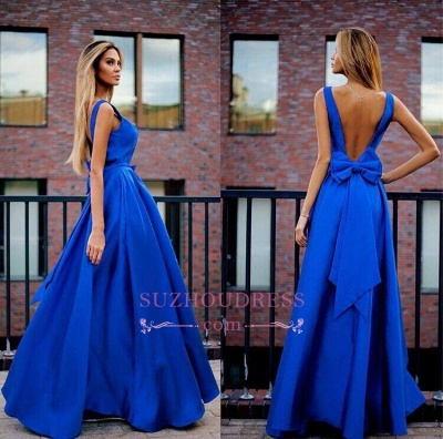 Floor Length Elegant Open Back  Evening Gown Bowknot Royal Blue Prom Dresses_1
