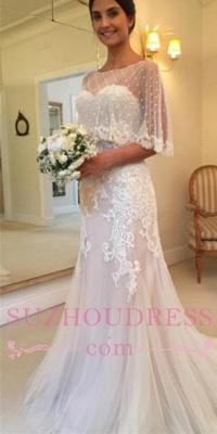 Sweetheart Mermaid Applique Tulle Sexy Sweep-Train Wedding Dresses_2