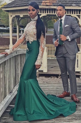 Halter Backless Long Sleeve Prom Dress Lace Appliques Mermaid Dark Green Evening Gown_4