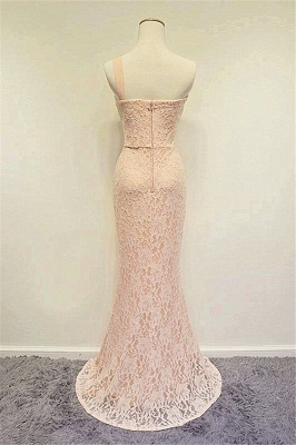 Champagne One Shoulder Lace Crystal Mermaid Prom Dress A-line Popular Zipper Long Evening Gowns_2