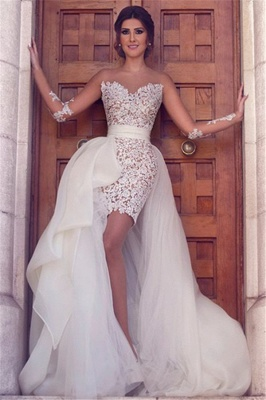 Long Sleeve Wedding Dress with Detachable Train Latest Short Lace Bridal Gown BA2363_3