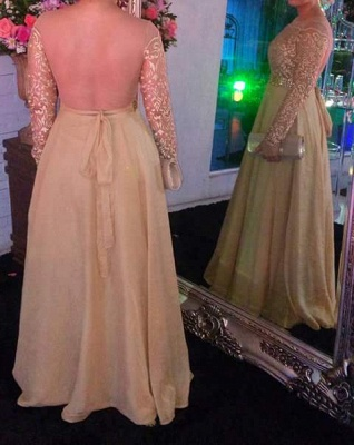 Gold Long Sleeve Evening Dresses  Round Neckline Lace Chiffon Prom Dress  BMT202_4