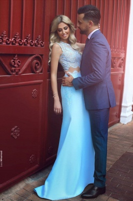 Baby Blue Two Piece Evening Dress Long Lace Mermaid  Prom Dresses  BA3914_3