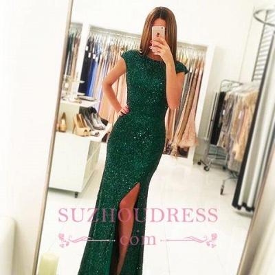 Sexy Backless Sequins Green Sheath-Column Floor-length Evening Dress_4