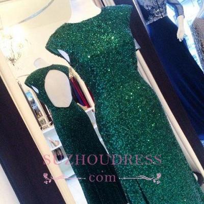 Sexy Backless Sequins Green Sheath-Column Floor-length Evening Dress_1