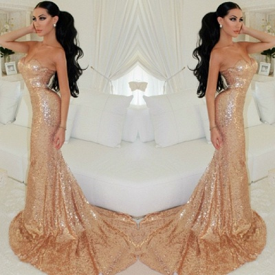 Sweetheart  Sparkling Long Evening Dress Sexy Mermaid Sequined Popular Dresses for Special Party_2