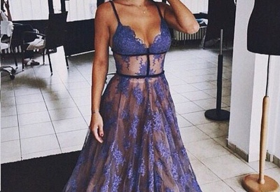Sheer Purple Evening Dress Lace V-neck Prom Gowns with Spaghetti Straps CE033_2