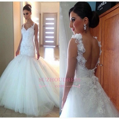 Tulle Mermaid Buttons Open Back Wedding Gowns  V-Neck Elegant Appliques Wedding Dress_1