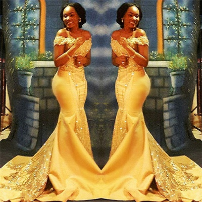 Off The Shoulder Yellow Sparkling Prom Dresses |  Mermaid Beads Sequins Evening Gown  	FB0335_3