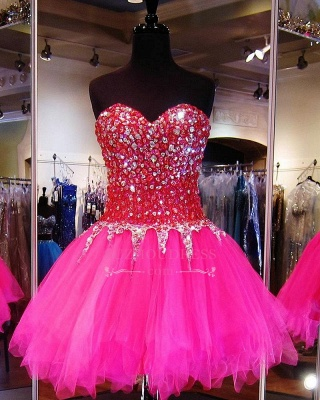 Sweethehart Glamorous A-Line Tulle Beadings Mini Homecoming Dresses_2