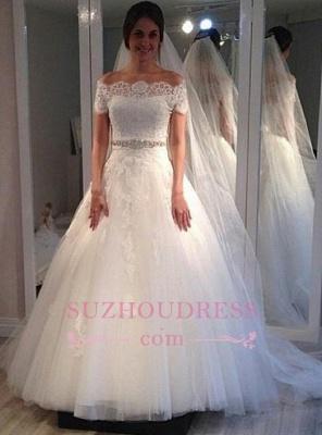 Off-the-shoulder Sweep-Train Short-Sleeves Elegant A-line Lace Wedding Dress_1