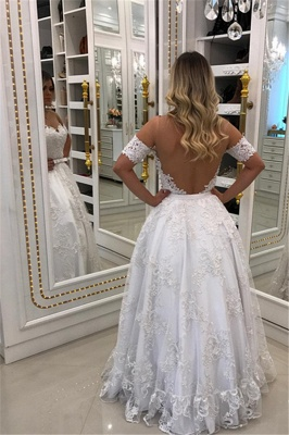 Glamorous A-Line Lace Appliques Evening Gowns  Off-the-Shoulder Bowknot Prom Dresses_3