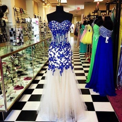 Elegant Sweetheart Royal Blue Prom Dress Crystal Tulle Long Formal Occasion Dresses_3