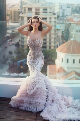 Luxurious Sexy Mermaid Party Dresses with Train Latest Open Back Evening Gowns MH063_1