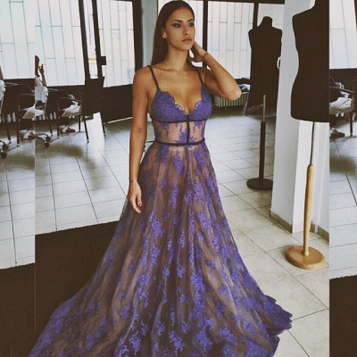 Sheer Purple Evening Dress Lace V-neck Prom Gowns with Spaghetti Straps CE033_3