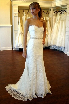 Lace Country Wedding Dress Strapless Sheath Summer Beach Wedding Gowns with Crystals Belt BA8083_1