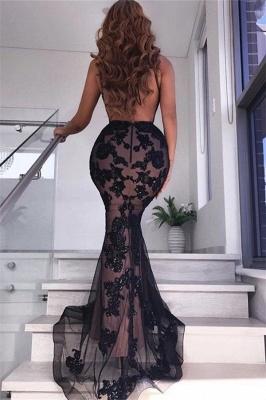 Fantastic V-Neck Sleeveless Black Prom Dress Sexy Backless Slit Formal Dresses with Appliques_3