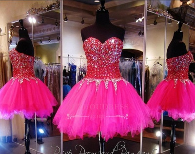 Sweethehart Glamorous A-Line Tulle Beadings Mini Homecoming Dresses_3