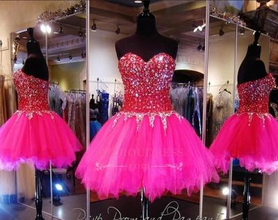 Sweethehart Glamorous A-Line Tulle Beadings Mini Homecoming Dresses_1