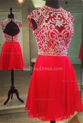 Mini A-Line Jewel Red Cocktail Dresses  Cap Sleeve Beadings Homecoming Dresses_1