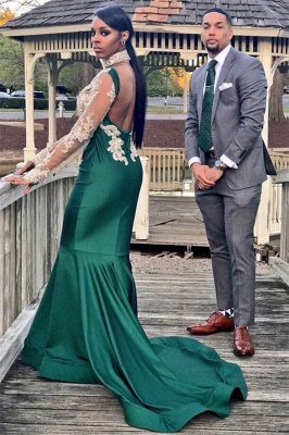 Halter Backless Long Sleeve Prom Dress Lace Appliques Mermaid Dark Green Evening Gown_3