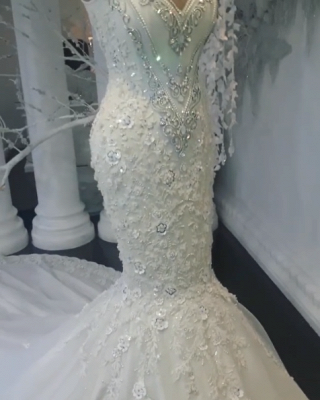 Vintage Jewel Lace Mermaid White Wedding Dresses Sleeveless Crystals Appliques Bridal Gowns On Sale_5