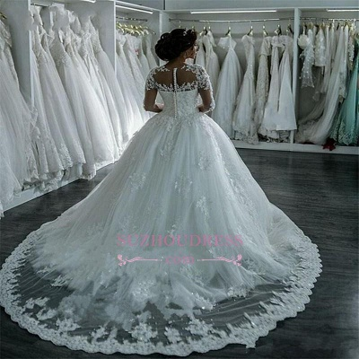 Long Sleeves Beaded Sheer Ball Gown Wedding Dress  Lace Bridal Dresses LY104_4