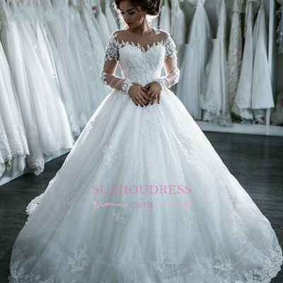 Long Sleeves Beaded Sheer Ball Gown Wedding Dress  Lace Bridal Dresses LY104_6