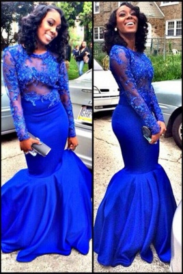 New Arrival Royal Blue Long Sleeve Prom Dress Sexy Mermaid Floor Length Evening Gown_1