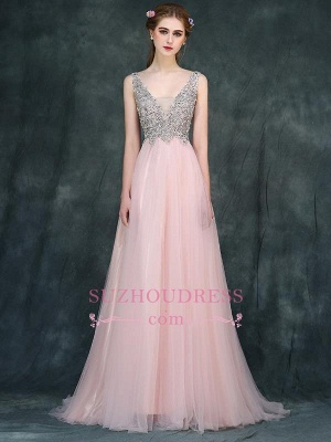 Pink Luxury A-line Long Backless V-Neck Beaded Prom Dresses_2