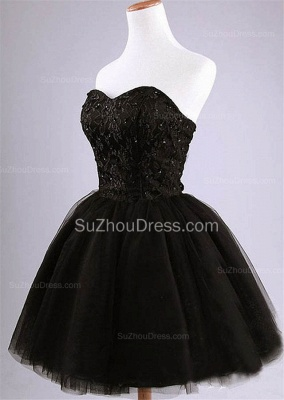 Cute Sweetheart Black Short Cocktail Dress Beading Tulle Lace-Up Mini Homecoming Dress CJ0389_2