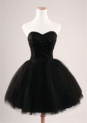 Cute Sweetheart Black Short Cocktail Dress Beading Tulle Lace-Up Mini Homecoming Dress CJ0389_1