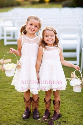 White Modern Knee length Lace Pageant Dresses A-line Illusion Sleeveless Flower Girl Dress_5