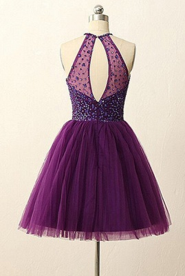 Purple Halter Crystal Mini Dresses A-Line Tulle  Homecoming Gowns_3