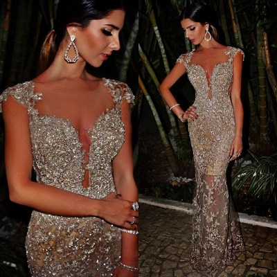 Sexy Sheath Evening Dresses  Sparkly Beaded Lace Appliques Evening Prom Dress For Summer_1