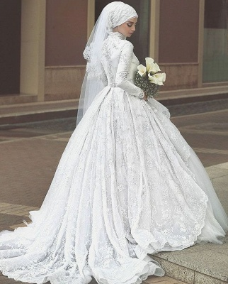 Affordable Lace Long-Sleeves Muslim Wedding Dresses High Neck Bridal Gowns Online_4