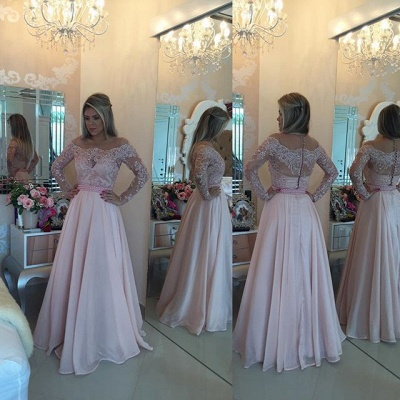 Latest Pink Long Sleeve Evening Gown A-Line Lace Chiffon  Prom Dress BA5532_4