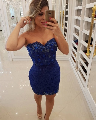 Sexy Royal Blue Lace Evening Dresses | Detachable Skirt Crystals Belt  Prom Dresses_3