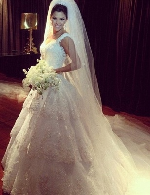 New Arrival Tiered Court Train Wedding Dress Crystal Lace V-Neck Back Plus Size Bridal Gown_1